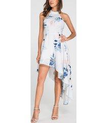 dobladillo irregular con estampado floral al azar sexy blanco vestido