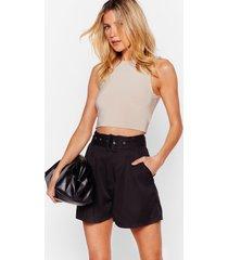 womens dancing never belt so good high-waisted shorts - black