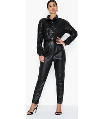 missguided faux leather button down jumpsuit jumpsuits