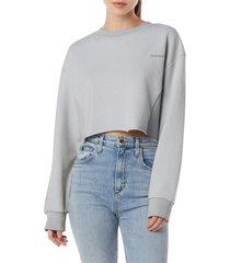 favorite daughter the jen crop sweatshirt, size small in grey at nordstrom