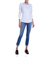 calca dudalina jeans cigarrete com recorte feminina (jeans claro, 46)
