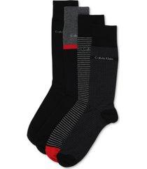 calvin klein men's 4-pack stripe/heel dress socks