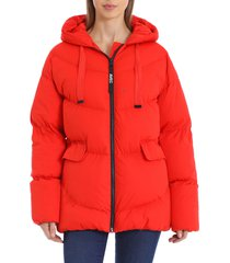 women's avec les filles water resistant hooded cozy duvet puffer jacket, size x-small - red