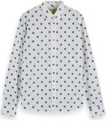 scotch & soda overhemd 155162 0220 shirt met mini print - wit