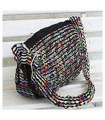 recycled aluminum pop-top hobo handbag, 'colorful scale' (brazil)