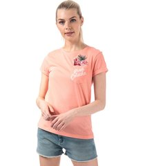 brave soul womens tropical embroidered t-shirt size 14 in pink