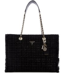 guess cessily tweed tote