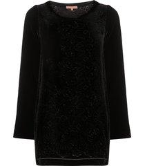 ermanno scervino floral motif velvet tunic - black