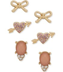 lonna & lilly gold-tone 3-pc. set heart & bow stud earrings