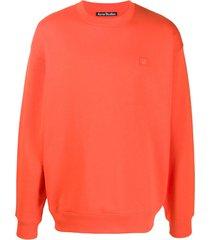 acne studios suéter oversized de algodão - laranja