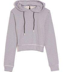 fleece crop hoodie in stripe