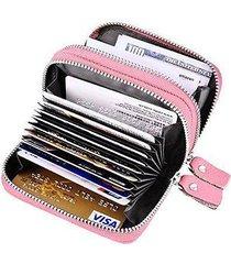rfid blocking genuine leather cash coin credit card holder wallet for women pink