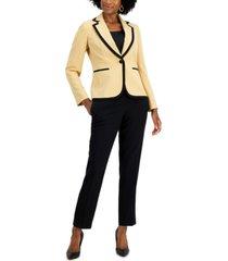 le suit petite contrast-trim one-button pantsuit