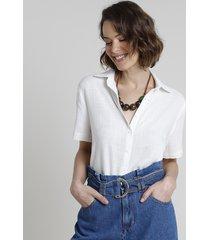 camisa feminina ampla manga curta off white