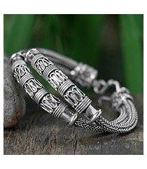 sterling silver braided bracelet, 'distinction' (thailand)