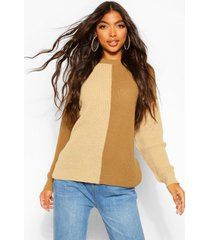 tall colour block knitted sweater, tan