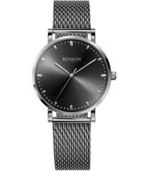 benson watch company's unisex handcrafted cardinal steel bracelet watch 37mm