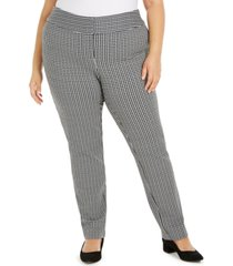 alfani plus size gingham slim-fit pants, created for macy's