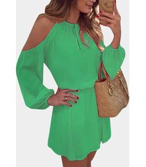 green cold shoulder long sleeves cotton dress with open back design