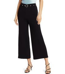 elizabeth and james women's polly belted cropped pants - black - size 4