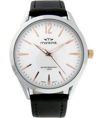 reloj negro montreal cuero