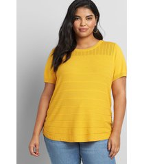 lane bryant women's mixed-stitch pullover sweater 26/28 tropical yellow