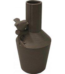 enfeite decorativo vaso com pássaro resina cinza 21x12x12cm