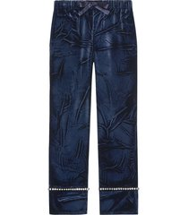 gucci velvet pajama pants - blue