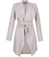 płaszcz kremowy z wełny