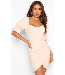 puff sleeve cupped mini bodycon dress, peach