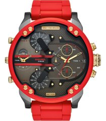 diesel men's chronograph mr. daddy 2.0 red silicone & stainless steel bracelet watch 57mm