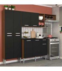 cozinha completa compacta com armário e balcão com tampo lisboa multimóveis carvalho avelã/preto