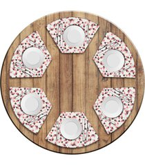 jogo americano love decor para mesa redonda wevans multi triângulos kit com 6 pçs