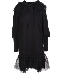 red valentino the black tag sweatshirt dress with telle point desprit