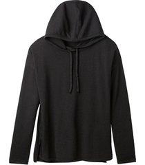 gebreide pullover met capuchon uit merinowol en bio-katoen, zwart 34