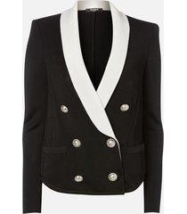 balmain women's 6 button viscose knit pyjama jacket - black/white - fr 40/uk 12