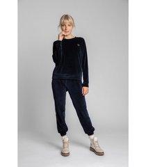blouse lalupa la011 fluwelen reglan mouw pullover top - marine blauw