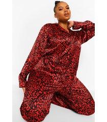 plus satijnen luipaardprint pyjama, red