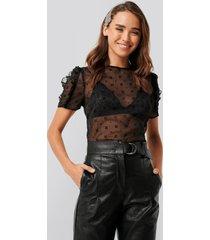 na-kd boho velvet applique shirred blouse - black