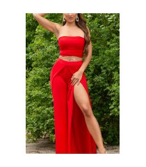 sexy zomer set- open broek + bandeau top rood