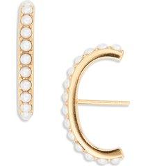 women's argento vivo imitation pearl suspender stud earrings