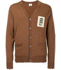 kent & curwen distressed v-neck cardigan - brown