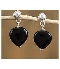 swarovski crystal dangle earrings, 'deep beauty' (mexico)