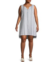 plus striped linen & cotton blend shift dress