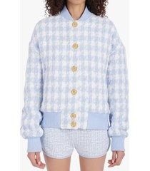 balmain houndstooth tweed bomber jacket