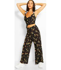 floral tie front top & culottes co-ord