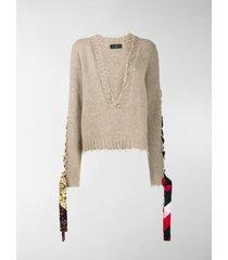 alanui bandana lace-up jumper