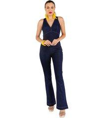 macacã£o jeans justo - azul - feminino - dafiti