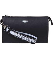 msgm black leather crossbody bag
