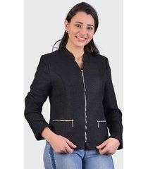 blazer tentation con cierres negro - calce regular